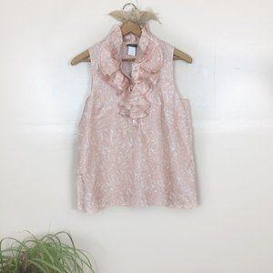 [J Crew Factory] NWT Light Pink Ruffle Silk Top